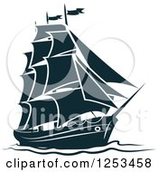 Clipart Of A Navy Blue Ship Royalty Free Vector Illustration