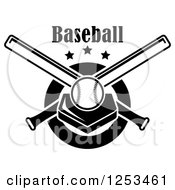 Clipart Of A Black And White Baseball On A Plate With Crossed Bats And Text Royalty Free Vector Illustration