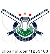 Clipart Of A Baseball On A Plate With Crossed Bats And Stars Royalty Free Vector Illustration