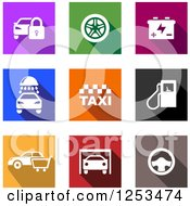 Clipart Of Colorful Square Automotive Icons Royalty Free Vector Illustration by Vector Tradition SM