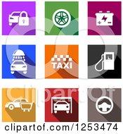 Colorful Square Automotive Icons