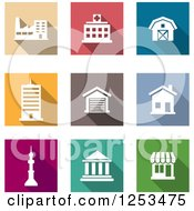 Clipart Of Colorful Square Architecture Icons Royalty Free Vector Illustration
