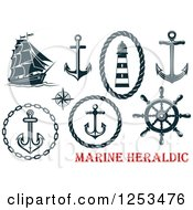 Clipart Of Navy Blue Nautical Anchors And Heraldic Designs Royalty Free Vector Illustration