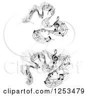 Clipart Of Grayscale Flowing Music Notes 3 Royalty Free Vector Illustration
