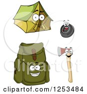 Clipart Of Happy Camping Item Characters Royalty Free Vector Illustration by Vector Tradition SM