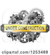 Clipart Of A 3d Under Construction Plaque Over Gears Royalty Free Vector Illustration
