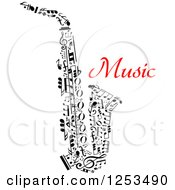 Clipart Of A Black And White Saxophone Made Of Music Notes And Red Text Royalty Free Vector Illustration