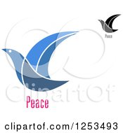 Clipart Of Doves With Peace Text Royalty Free Vector Illustration