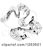 Clipart Of A Grayscale Flowing Music Notes 5 Royalty Free Vector Illustration