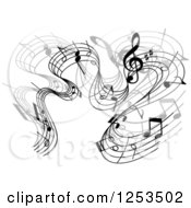 Clipart Of A Grayscale Flowing Music Notes 6 Royalty Free Vector Illustration