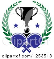 Clipart Of A Ping Pong Ball And Paddles With A Trophy And Laurel Wreath Royalty Free Vector Illustration by Vector Tradition SM