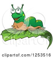 Clipart Of A Happy Slug On A Leaf Royalty Free Vector Illustration by Vector Tradition SM