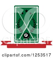 Clipart Of A Billiards Table Over A Banner Royalty Free Vector Illustration