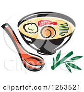Clipart Of A Bowl Of Oriental Soup Royalty Free Vector Illustration by Vector Tradition SM