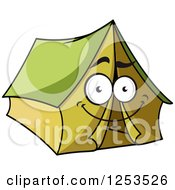 Clipart Of A Happy Green Tent Royalty Free Vector Illustration