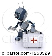 Clipart Of A 3d Blue Android Robot Paramedic Using A Stethoscope By A First Aid Kit Royalty Free Illustration