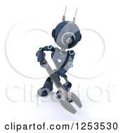 Clipart Of A 3d Blue Android Robot Using A Spanner Wrench Royalty Free Illustration