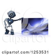Clipart Of A 3d Blue Android Robot With A Giant Credit Card Royalty Free Illustration