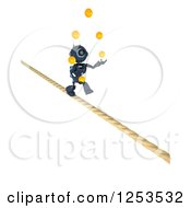 Clipart Of A 3d Blue Android Robot Juggling And Crossing A Tight Rope Royalty Free Illustration