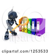 Clipart Of A 3d Blue Android Robot Using A Magnifying Glass To Binders Royalty Free Illustration