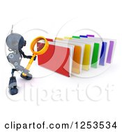 Clipart Of A 3d Blue Android Robot Using A Magnifying Glass To Search Folders Royalty Free Illustration