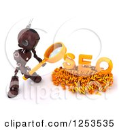 Clipart Of A 3d Red Android Robot Searching Over SEO Royalty Free Illustration