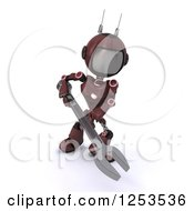 Clipart Of A 3d Red Android Robot Using A Spanner Wrench Royalty Free Illustration