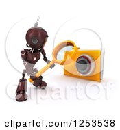 Clipart Of A 3d Red Android Robot Using A Magnifying Glass To Search A Locked Folder Royalty Free Illustration