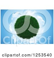 Clipart Of A 3d Grass Planet And Clouds On Blue Royalty Free Illustration by KJ Pargeter