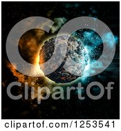 Clipart Of A 3d Volcanic Planet And Nebula Royalty Free Illustration