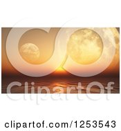 Clipart Of A 3d Orange Sunset Ocean With Foregin Planets Royalty Free Illustration by KJ Pargeter