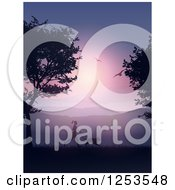Clipart Of A Silhouetted Fit Woman Jogging With Her Dog At Sunset Royalty Free Vector Illustration by KJ Pargeter