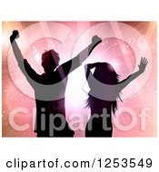Clipart Of A Silhouetted Couple Dancing Over Flares Of Light Royalty Free Vector Illustration by KJ Pargeter