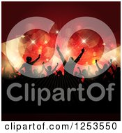 Clipart Of A Silhouetted Crowd Dancing Under Flares Of Red And Gold Lights And Stars Royalty Free Vector Illustration