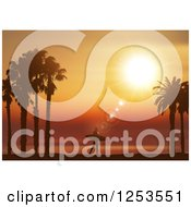 Clipart Of A Lone Silhouetted Surfer Walking Against An Orange Tropical Sunset Royalty Free Vector Illustration