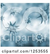 Clipart Of A Background Of 3d Blue Viruses Royalty Free Illustration