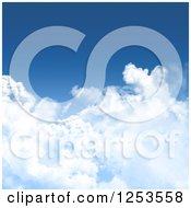 Clipart Of A Blue Sky And Puffy Cloud Background Royalty Free Illustration