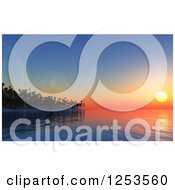 Clipart Of A 3d Tropical Island At Sunset Royalty Free Illustration