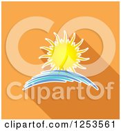 Clipart Of A Summer Sun Splash And Shadow Over Orange Royalty Free Vector Illustration