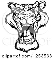 Clipart Of A Black And White Roaring Panther Royalty Free Vector Illustration