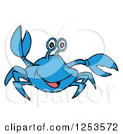 Clipart Of A Waving Blue Crab Royalty Free Vector Illustration by LaffToon