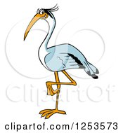 Clipart Of A Happy Blue Heron Bird Royalty Free Vector Illustration