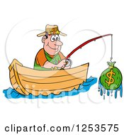 Clipart Of A Happy White Man Fishing For Money Royalty Free Vector Illustration by LaffToon