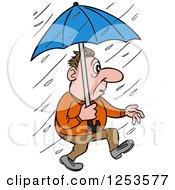 White Man Walking In A Rain Storm With An Umbrella