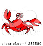 Clipart Of A Waving Red Crab Royalty Free Vector Illustration by LaffToon