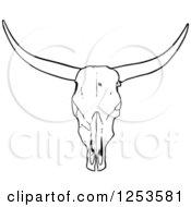 Poster, Art Print Of Black And White Long Horned Steer Skull