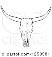 Clipart Of A Black And White Long Horned Steer Skull Royalty Free Vector Illustration