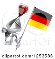 Clipart Of A 3d Medieval Knight Holding A German Flag Around A Sign Royalty Free Illustration