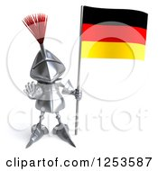 Clipart Of A 3d Medieval Knight Gesturing Stop And Holding A German Flag Royalty Free Illustration