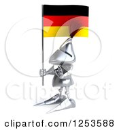 Clipart Of A 3d Medieval Knight Gesturing Stop And Holding A German Flag 2 Royalty Free Illustration